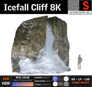 3D icefall cliff 8k model