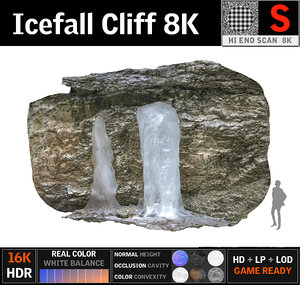 3D icefall cliff 8k
