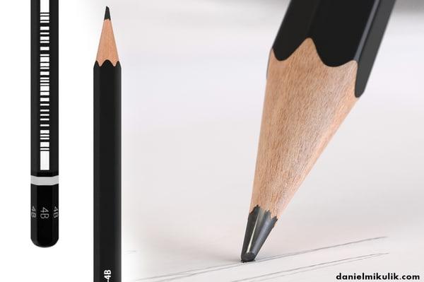 3D model black pencil
