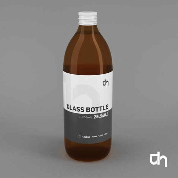 3D glass bottle 25 5x8