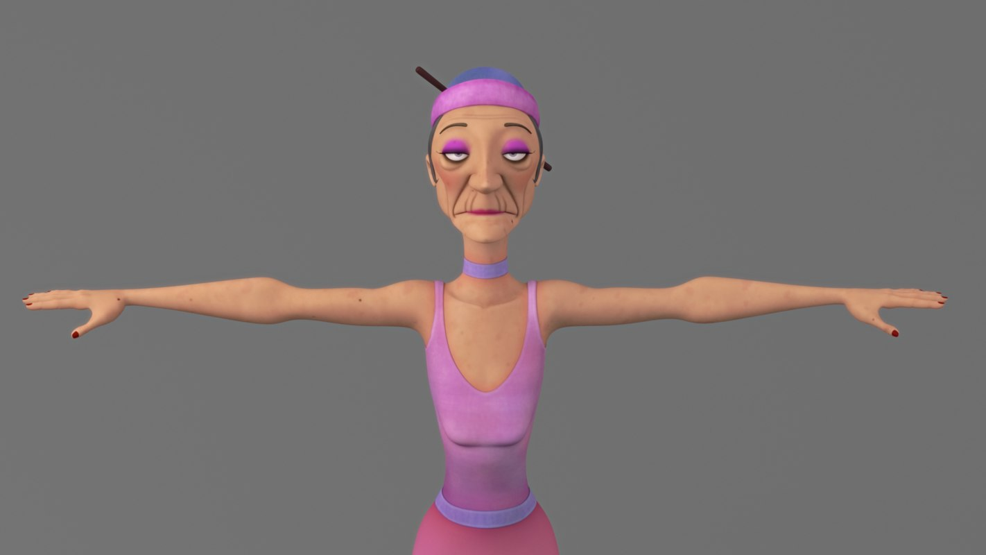 cartoon old woman model