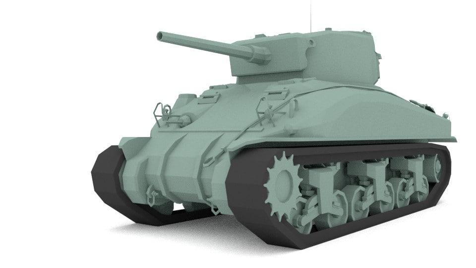 blender m4 sherman military tank 3D model