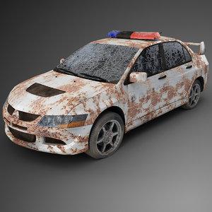 3D destroyed police car