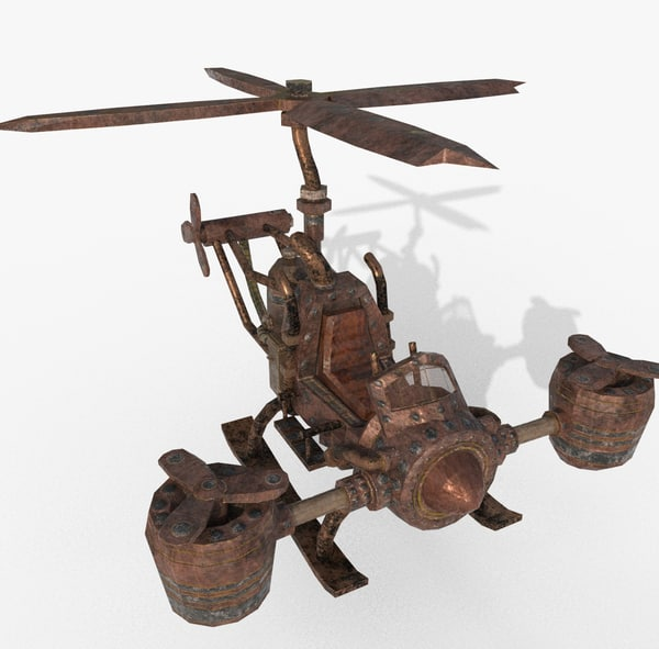 3D rust rusty helicopter