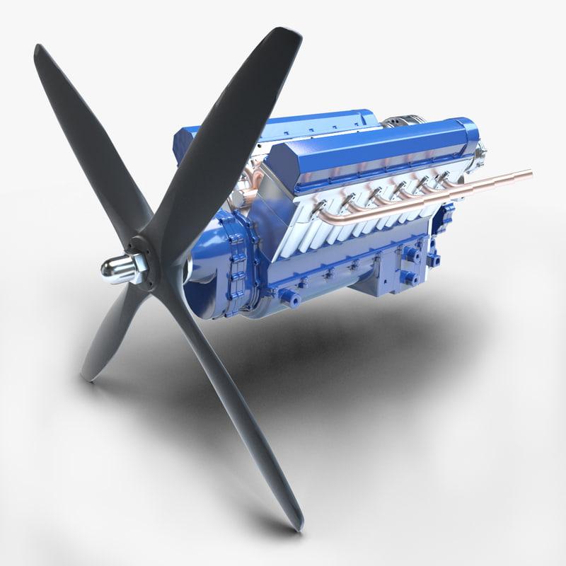 3D v12 engine model