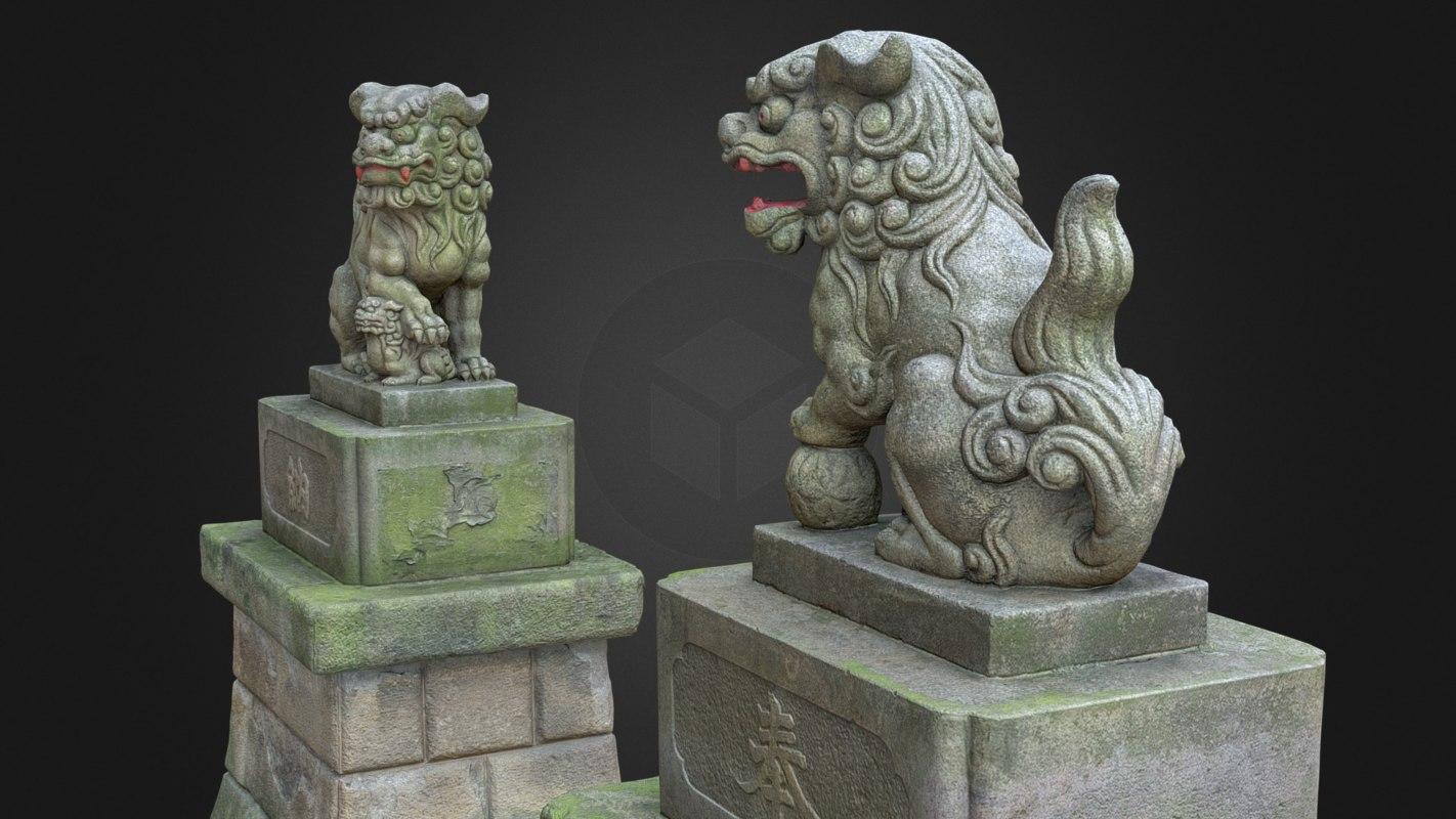 3d model komainu 2 guardian lions