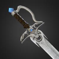 fantasy medieval sword cristal 3D model