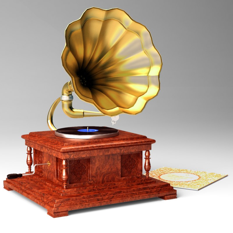 gramophone records wood 3D model