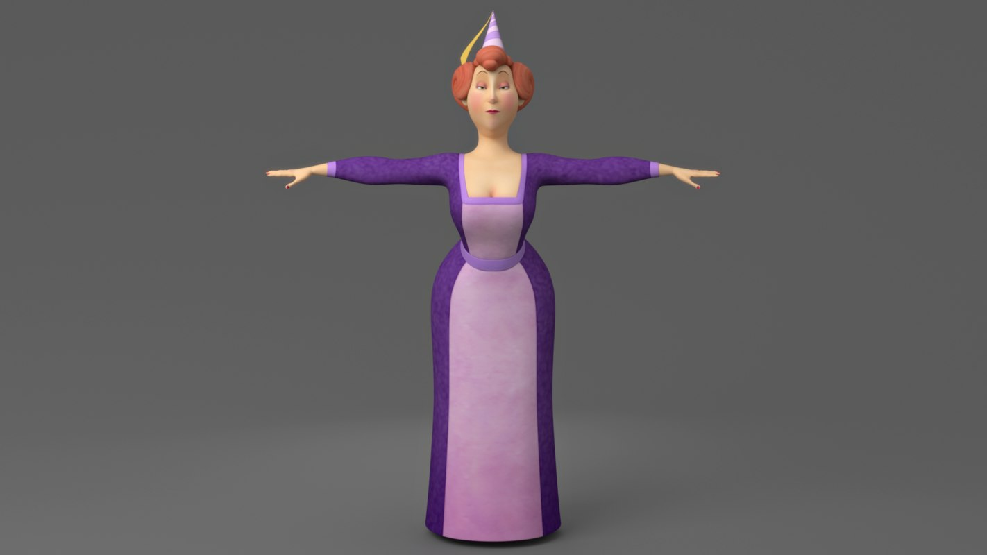 3D cartoon woman model