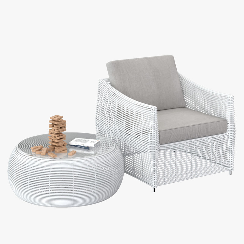 rattan furniture white 3D model