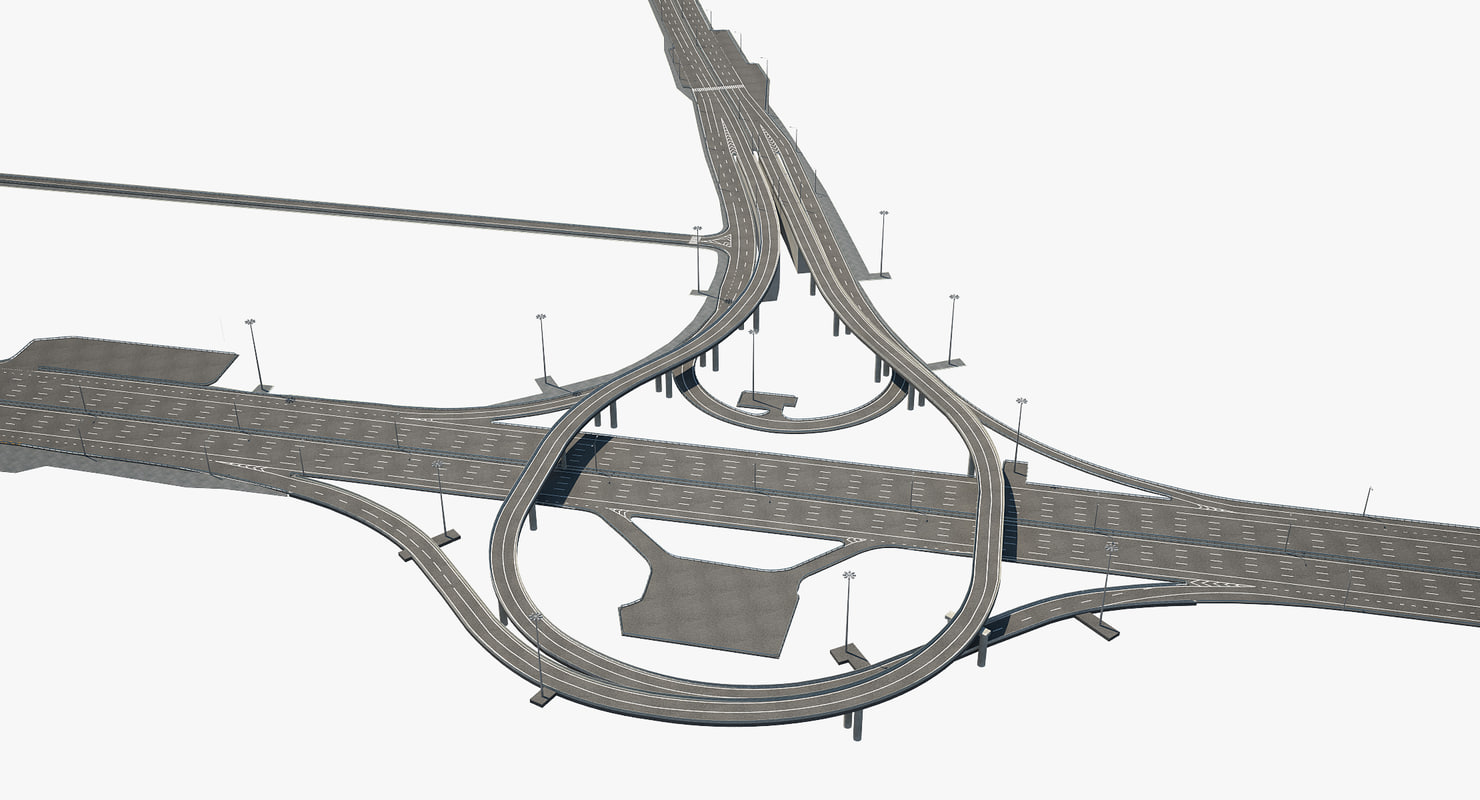 highway road junction 3D