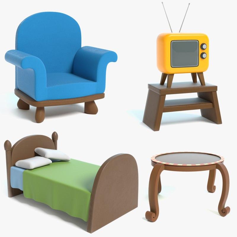 Cartoon Furniture: Cartoon Furniture Chair 1 3D Model