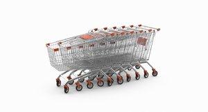 3D shopping cart arranged row model