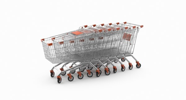 3D shopping cart arranged row model