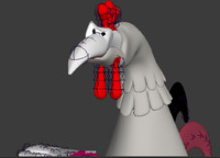 old cartoon chicken 3D model