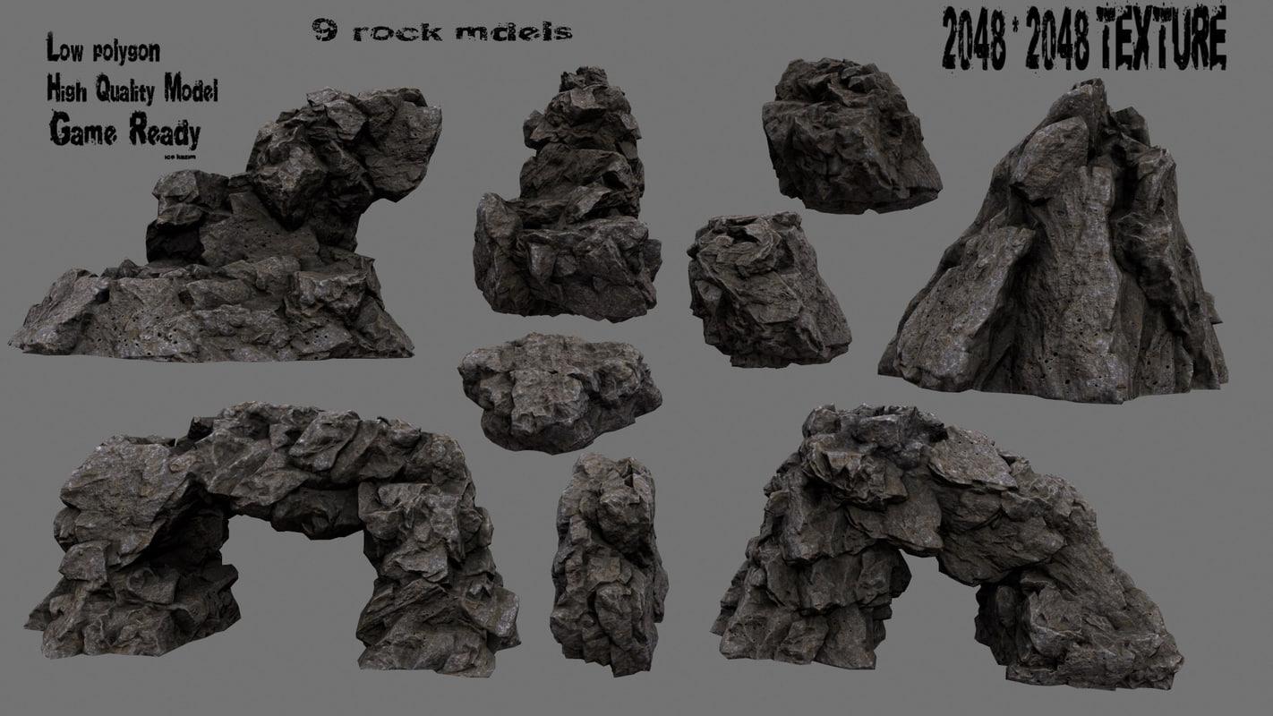 rock cave mountain 3D model
