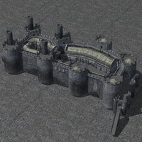 set fantasy medieval castle 3D model