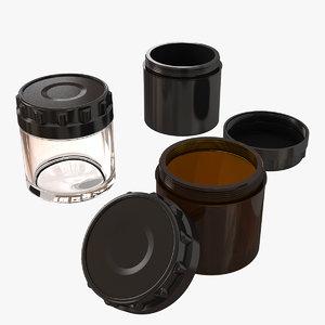glass jars cosmetic creams 3D model