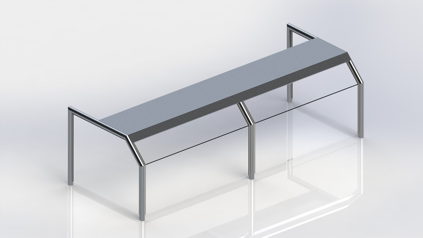 3D stainless steel sneeze guard model
