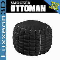 3D tufted smocked ottoman model