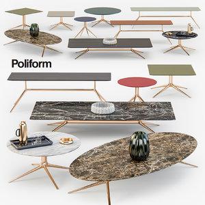 3D poliform mondrian coffee tables