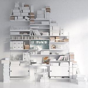 string bookshelf 3D model