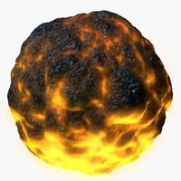 3D model aerolite magma meteorolite