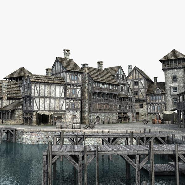 medieval port 3D