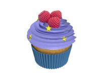 cupcake raspberries 3D model