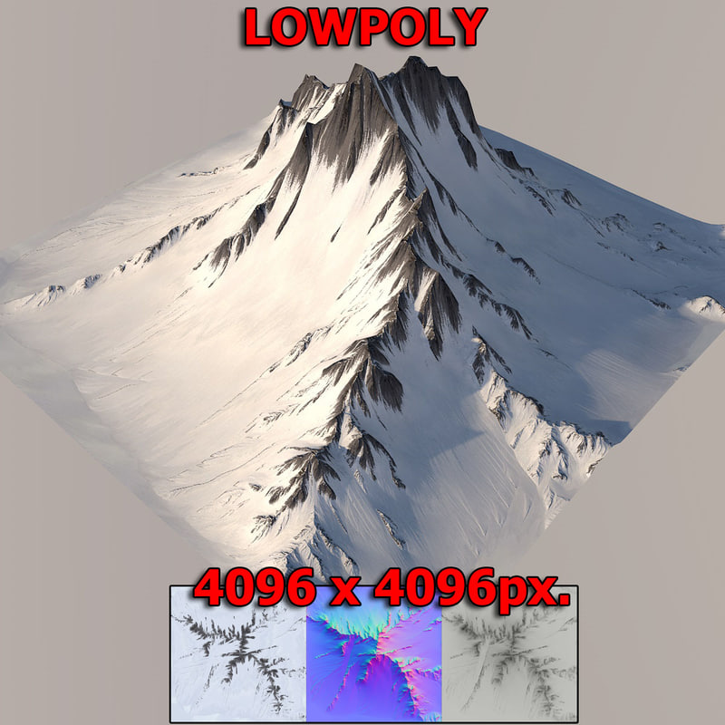3D snow mountain model