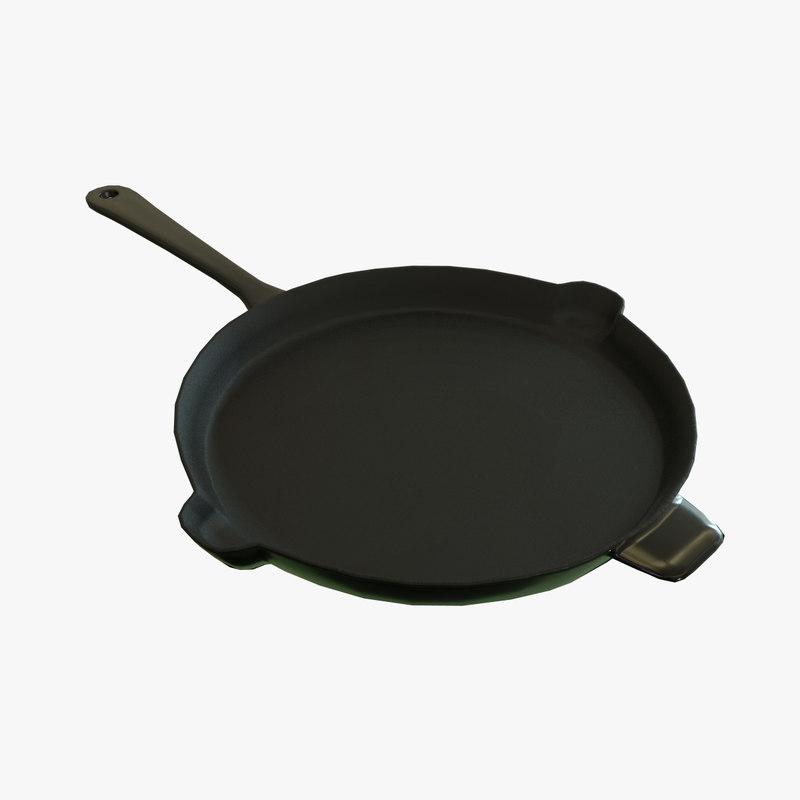 3D frying pan polys model