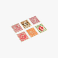 3D hi-poly german postage stamps