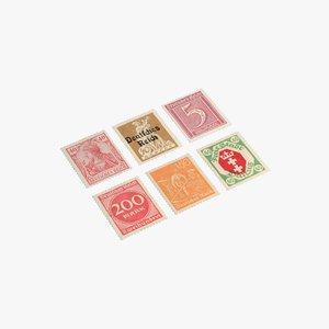 3D hi-poly german postage stamps