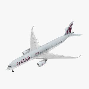 airbus a350-900 qatar 3D