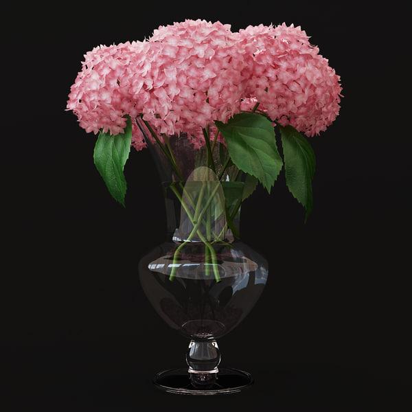 pink hydrangea 3D model