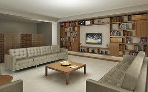 3D model restingroom library hobbyarea