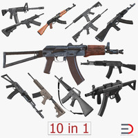 Assault Rifles 3D Models Collection 3