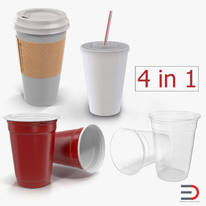 3D model disposable cups