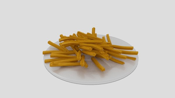 french fries dish 3D model