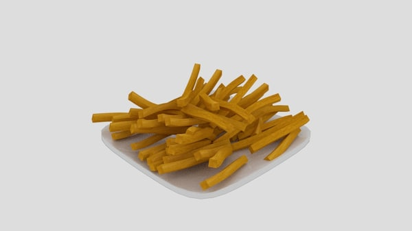 french fries plate 3D model