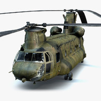 3D low-poly army helicopter ch-47 chinook
