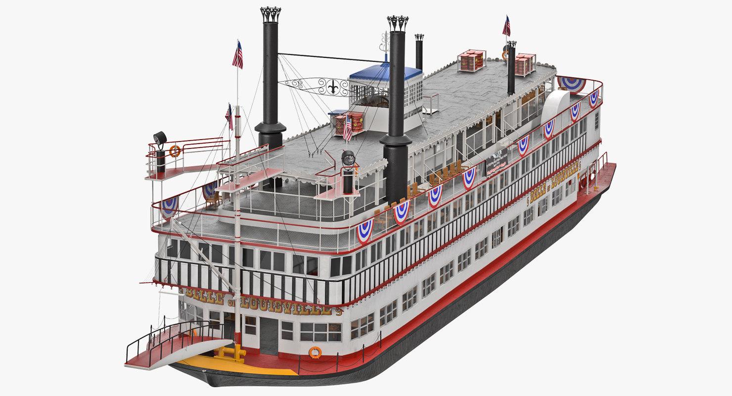 wheeled steamboat 3D model