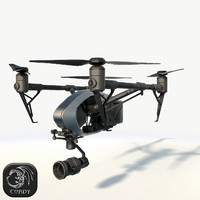DJI Inspire 2.0 quadcopter low poly