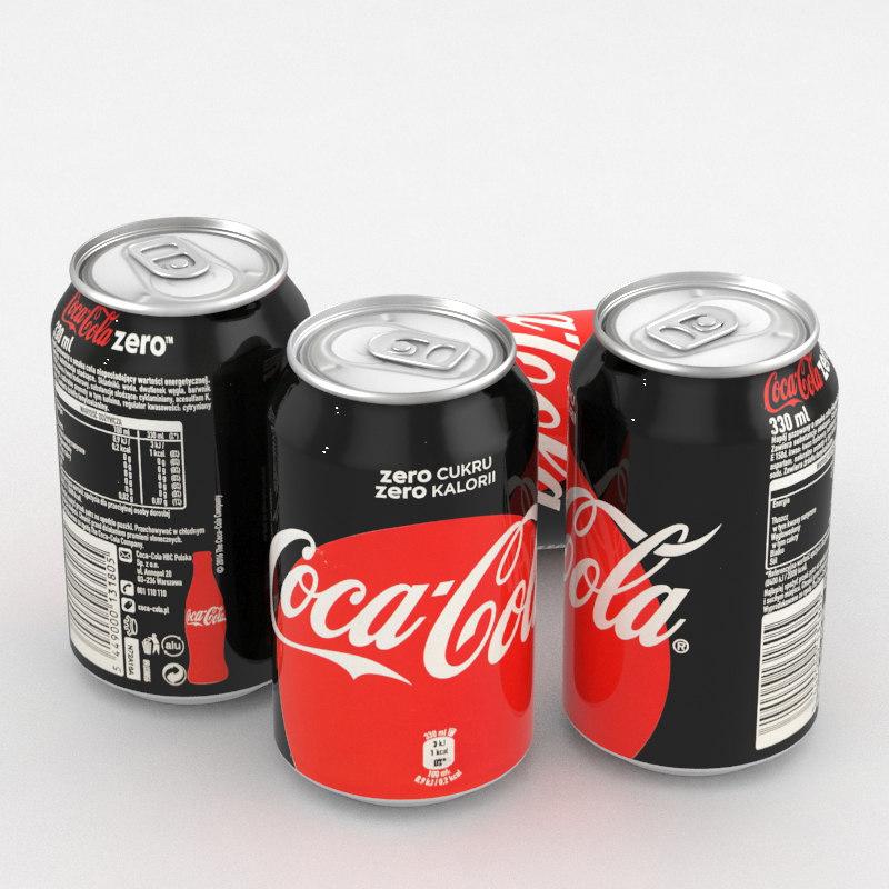 3D beverage coca-cola zero 330ml model