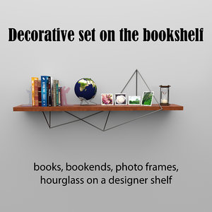 bookshelf books set 3D