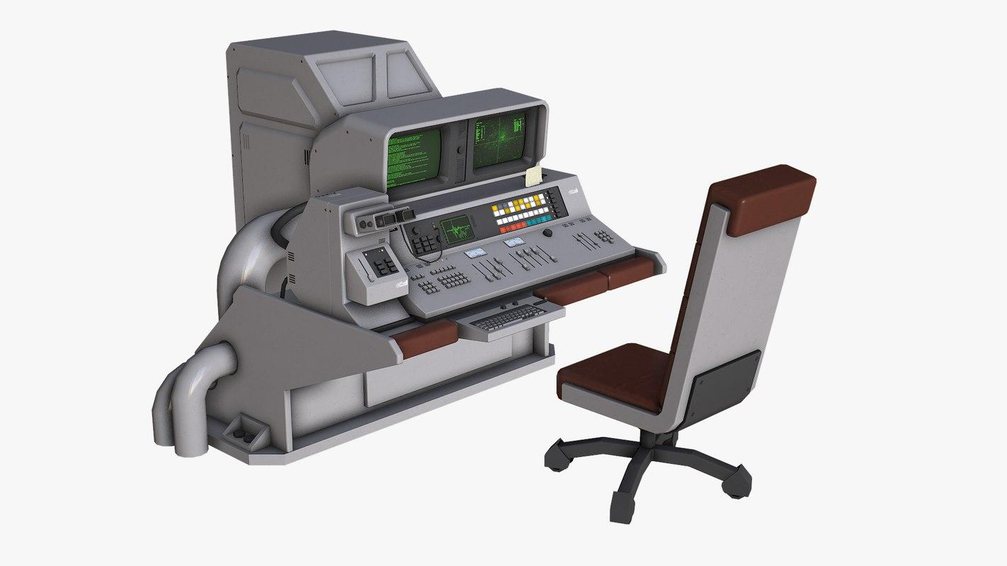 sci fi control desk 3D model