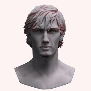 3D zbrush mans head bust