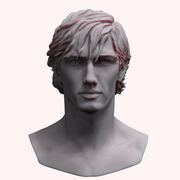 3D zbrush mans head bust