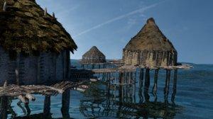 prehistoric settlement neolithic crannog 3D model