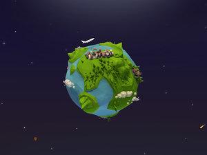 cartoon earth 3D model